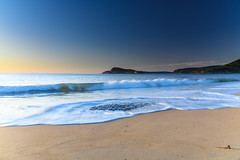 Early Morning Spring Day at the Beach (Merrillie) Tags: daybreak sunrise landscape nature dawn centralcoast morning sea northpearlbeach sky newsouthwales rocks pearlbeach nsw blue clearskies ocean earlymorning australia rocky coastal waterscape outdoors seascape waves coast water seaside
