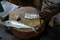 Death bed (viveksanand) Tags: fish food cut people head slice death life pieces animal tail