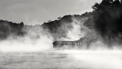 Lake Guntersville in the Early Morning (johaennesy) Tags: usa alabama landscape monochrome blackandwhite pentaxian pentax morning fog mist misty sunrise