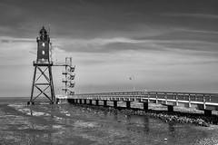 Lighthouse Eversand (Zoom58.9) Tags: sky clouds lighthouse bw monochrome europe germany niedersachsen dorum himmel wolken leuchtturm sw europa deutschland sony sonydscrx10m4 nature natur landschaft watt wattenmeer mudflat nationalparcmudflat nationalparc nationalparkwattenmeer