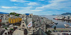 Art Nouveau city from the Museum (joiseyshowaa) Tags: alesund aalesund architecture hotel design building travel holiday harbor north sea norway nordic norlandic street towers stone canal aspoy refurbished