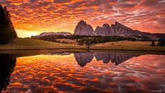 The Dazzle of Alto-Cumulus Clouds (Neha & Chittaranjan Desai) Tags: sunrise dawn altocumulus clouds mountains dolomites dolomiti italy seiser alm alpe di siusi lake reflections colors sky brilliant nature travel