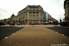 Oxford Circus, London (Derek O'Brien) Tags: london oxford circus diagonal crossing wide angle low level