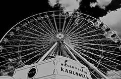Prater Perspective II (christikren) Tags: blackwhite absoluteblackandwhite christikren vienna wien wienerprater clouds wheel entertainment linescurves carousel karussell amusementpark vergnügungspark tradition