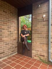 Cece's Spring Dress (4) (rjrgmc28) Tags: adorkable black dork dress eyewear geek girl glasses pantyhose stockings transgender woman aspergirl