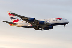 G-XLEB, Airbus A380-841, British Airways is on short finals for rwy 27L, during a nice sunrise. (Freek Blokzijl) Tags: gxleb airbus a380841 widebody superjumbo wally dubbeldekker britshairways arrival sunrise aankomst glidepath hattoncross heathrow egll lhr early morning approach planespotting vliegtuigspotten spotterlocation canon eos 7dmk2 zomer summer august 2019
