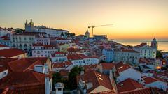 Lisboa sunrise (Pat Charles) Tags: lisboa lisbon portugal portuguese europe travel nikon architecture architectural old town city urban exploration lookout panorama crane
