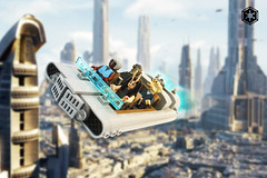 Luxury Airspeeder above Coruscant (darth85) Tags: swlego lego legosw legostarwars starwars star wars speeder airspeeder balosar rodian aqualish coruscant city vehicle thieves pilot passenger