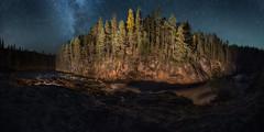 Kiutaköngäs autumn nightscape (M.T.L Photography) Tags: kiutaköngäs riveroululankajoki oulankajoki kuusamo lappi trees milkyway linnunrata water stars rocks nightscape dark autumn sky forest