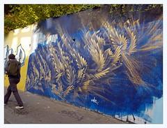 gold on blue (overthemoon) Tags: switzerland suisse schweiz svizzera romandie vaud lausanne ruenelsonmandela graffiti tags colourful eracom