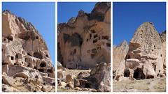 kapadokya (adilekin) Tags: sonya6000 smcpentaxm28mmf28 pkmount lensserial8327762 kapadokya cappadocia nevşehir aksaray turkey collage landscape manualfocuslens sunnyday travel trip touristic rock scene view bluesky