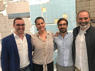 Piero Atchugarry Gallery owner Piero Atchugarry with gallery director Mariana Azupurua and artists Pablo Rasgado and Andres Michelena at the Gallery's opening of Pablo Rasgado.