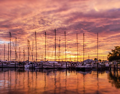 Fire in the sky (mimsjodi) Tags: sunrise titusvillemarina titusvillefl sky boats challenge groupchallenge marina saturdayselfchallenge tiltshift cellphone clouds