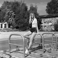 Ashley (csobie) Tags: bronicasqa 80mmf28ps yellowfilter k2 blackandwhite ilford delta100 mediumformat 120 6x6 analog film model blonde beautiful fashion berlin germany street