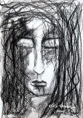 Through branches , unseen ... (LaDryadaJessica) Tags: ladryadajessica artdryadique dryadicart art dessin drawing fusain charcoal noiretblanc blackandwhite dark mystère mystery artmoderne modernart