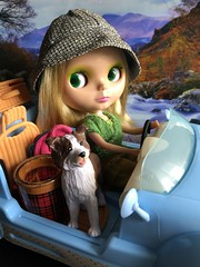 """""""Go the the Mountains"""" BaD 10/19/19 (Foxy Belle) Tags: doll mondrian blythe car barbie dog live mountains day october 19 2019 scothc cooler backpack calendar fall autumn 16 scale scene blue wicker basket seat convertible drive"""