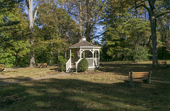 Gazebo, Promont (William McGrue House) — Milford, Ohio (Pythaglio) Tags: house dwelling residence historic ornate italianate 25story brick quoins cornice brackets tower segmentalarched 11windows hoodmolds porch scrollwork trees promont clermontcounty ohio milford williammcgrue ca1865 80002959 nrhp nationalregister