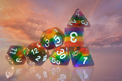 The Balancing Act (Elisafox22) Tags: elisafox22 sony nex6 sonye30mmf35 macrolens macro 30mm smileonsaturday hsos diceonly hcs clichesaturday dice dungeonsanddragons numbers facets colours translucent reflections sky clouds indoors tabletop stilllife elisaliddell©2019