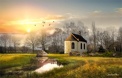 The boulder (Jean-Michel Priaux) Tags: paysage landscape nature sunset sunshine church chapel priaux lonesome lonely alone trees sky painting paint patrimony paintingmatte mattepainting reflect surreal unreal