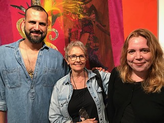 Artist Pepe Mar with Barbara Young and Amy Galpin, Frost Museum chief curator, at the Atchugarry Gallery opening