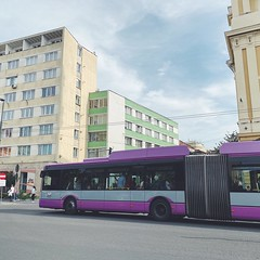 cluj stripes (mennyj) Tags: cluj napoca romania transylvania travel work trip 2019 fall mobile iphone iphone11 yellow green orange purple white stripes buildings architecture bus colors intersection city