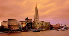evening London (majka44) Tags: night evening london england facade window light sunset architecture building travel mood atmosphere river boat reflection effect thames city shard cityhall cityscape gold gloden nice view tourism
