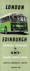 London - Edinburgh express services by SMT, brochure cover 1953 (mikeyashworth) Tags: mikeashworthcollection scottishomnibuses smt scottishmotortraction aeccoach alexandercoachwork 1953 expresscoachservices londonedinburghcoachservices graphicdeisgn brochure leaflet brochuredesign transportephemera typeface typogrpahy vintageadvertising1950s scotland expresscoach publictransport