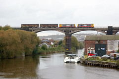 20118+20132 Frodsham Viaduct 18th October 2019 (John Eyres) Tags: 2011820132 cross river weaver frodsham working 6z21 1219 ellesmere port manisty wharf garston 181019