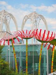 """Creativity takes courage."" – Henri Matisse (Irene2727) Tags: seattle wa giantmetalflowers glassbuilding chihulygardens cityscape urban coth5"