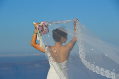 Fira, Santorini (Seventh Heaven Photography - (Travel)) Tags: fira santorini bride veil lace bouquet flowers island greece greek aegean cyclades nikond3200 water sky blue white wedding