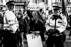 Protecting Spoons (Sean Batten) Tags: london england unitedkingdom europe streetphotography street protest march protestmarch people candid police city urban fujifilm x100f