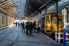 Shopping's done (Nodding Pig) Tags: scarborough railway station train yorkshire england greatbritain uk 2019 class158 dieselmultipleunit sprinter brel 158787 northern shoppers 201902101029102