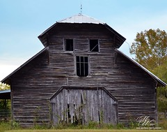 Barn in Dalton, GA (Mike Woodfin) Tags: mikewoodfin mikewoodfinphotography photo picture photography photograph photos photoshop pretty barn backroads country county cool contrast color rusty rural rust rustic deserted decrepid decay delapidated defunct destroyed dalton georgia awesome beautiful beauty wood woodwork wooden planks