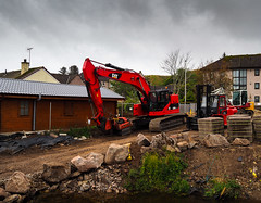 A storm is brewing. (HivizPhotography) Tags: cat caterpillar 328d lcr excavator digger construction earthmoving equipment heavy machine scotland stonehaven aberdeenshire uk