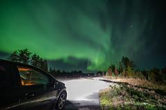 Parked (Arttu Uusitalo) Tags: car sky night nightscape autumn fall landscape aurora borealis northern lights auroras green highway north ostrobothnia finland wideangle midnight canon eos 5d mkiv