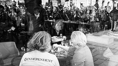 Brexit Break (Sean Batten) Tags: london england unitedkingdom europe blackandwhite bw streetphotography street reflection people candid protest protestmarch protestor brexit