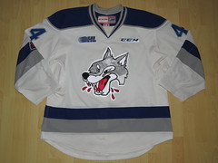 Sudbury Wolves 2017 - 2018 Game Worn Jersey (kirusgamewornjerseys) Tags: ohl game worn jersey junior ice hockey cole candella sudbury wolves canada