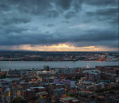 A Merseyside Sunset (rrlammas) Tags: city sunset clouds river mersey wirral merseyside liverpool
