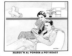 marge 'n al ponder a pot roast postcard (Al Q) Tags: marge n al ponder pot roast postcard