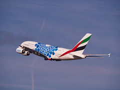"""A6-EOS Emirates Airbus A380-800 painted in """"Expo 2020 (Mobility / Blue)"""" special colours (alex kerr photography) Tags: egcc manchesterairport airport avgeek aviation planespotter passengerplane passengerjet planes jet"""