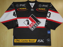 EHC Basel 2017 - 2018 home Game Worn Jersey (kirusgamewornjerseys) Tags: ehc basel sharks game worn jersey ice hockey joel wüthrich nicolai gusset chris sarault vögelin