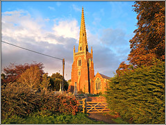 All Saints in evening light (Jason 87030) Tags: church spire local glow color colour autumn sky lighting allsaints northants northamptonshire village shot home building architecture moment time mind way back when uk english england scene nice holy religious religion christianity