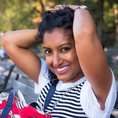 Playful Flirtation (DJB Photo NYC) Tags: desigirl beautiful indocaribbean indiandiaspora westindianfaces trinigyal trinidadian playful flirty gorgeous thatlook petitemodel curlyhair redlips naturallightportraiture browngirlsrock nycphotographer sigma1835mm canont5i portrait canonphotography lightroomedit freshface brighteyes smile