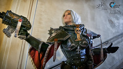 Piece of Cake Cosplay as Sister of Battle from Warhammer 40K, by Ailiroy and SpirosK photo. (SpirosK photography) Tags: cosplay costumeplay palazzogonzaga portrait spiroskphotography voltaincosplay voltaincosplay2019 vic pieceofcake pieceofcakecosplay postapocalyptic 40k warhammer40k warhammer tabletoprpg rpg game videogame gaming sisterofbattle adeptasororitas balcony clouds preaching shooting gun