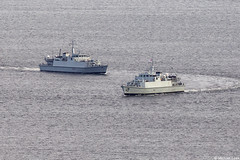 RN minesweepers HMS Penzance, M106, and HMS Ramsey, M110; Clyde Anchorage, Scotland (Michael Leek Photography) Tags: ship warship nato navalvessel natoexercise jointwarrior jointwarrior2019 westcoastofscotland westernscotland clyde clydeanchorage firthofclyde scotland scottishcoastline scottishshipping britainsarmedforces britainsnavy rn royalnavy hmnbclyde hmnb hmsneptune faslane gareloch minehunter michaelleek michaelleekphotography