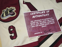 shoulder patch, game wear and Team COA (kirusgamewornjerseys) Tags: jake partridge peterborough petes game worn jersey canada ice hockey ohl