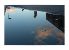 autumnal emptiness (Armin Fuchs) Tags: arminfuchs lavillelaplusdangereuse würzburg water blue reflection puddle diagonal niftyfifty autumn fall tristesse