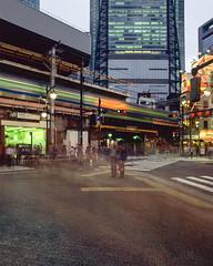 012_01_125_02 (noise track) Tags: japan tokyo city urban buildings lights long exposure train station shimbashi velvia rvp50 mamiya rb67 film medium format