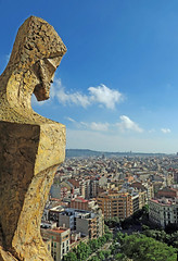 Looking over his City - Barcelona, Spain (TravelsWithDan) Tags: sagradafamilia tower sculpture art architecture city urban outdoors summer barcelona spain europe canong3x cityscape landscape
