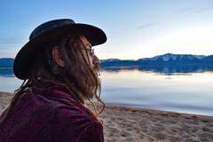 Scott Berman Angrily Looking at Lake Tahoe (Toasto) Tags: laketahoe man gypsy cowboy hat angry beach lake beard bearded dreadlocks dirty nature glasses lipring hippie hippy mad stern